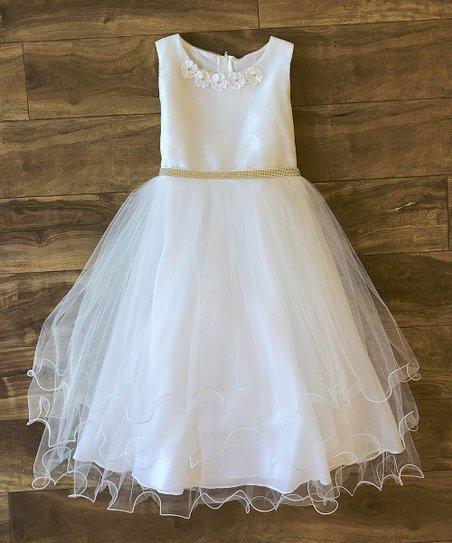 dd1040288ee4 Precious Kids White Lace Overlay Sleeveless Satin A-line Dress ...