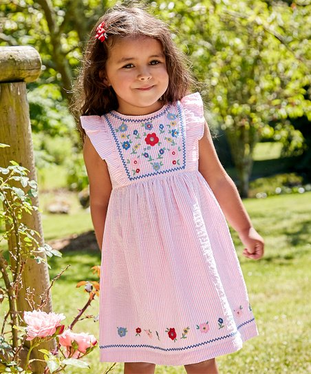 ca89675bace love this product Pink Floral Embroidered Angel-Sleeve Dress - Infant    Toddler