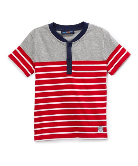 3085d9738 love this product Gray & Red Color Block Stripe Henley - Toddler & Boys