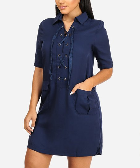 0a3a5981917 love this product Navy Pocket Lace-Up Shift Dress - Women