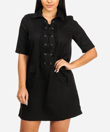 ab4ac47e8b3 Everly Black Pocket Lace-Up Shift Dress - Women