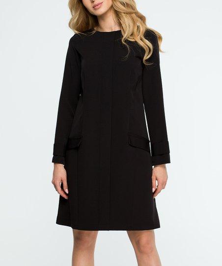 0aab52a0833 Stylove Clothing Black Long-Sleeve Shift Dress - Women