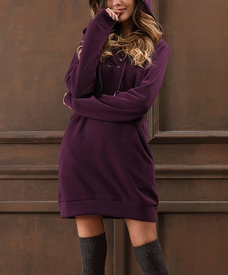 740dfdca50f Z Avenue Dark Purple Lace-Up Front Hooded Sweater Dress - Plus