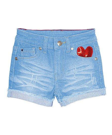 d445e96d90 Cutie Patootie Ice Blue Sequin Heart Denim Shorts - Girls | Zulily