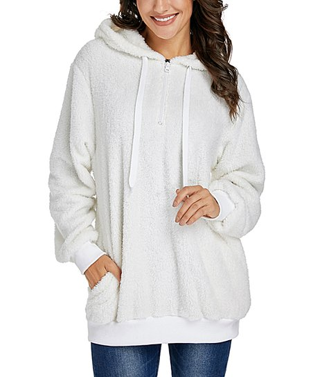 love this product White Fuzzy Pullover Hoodie - Women fd2c530d2