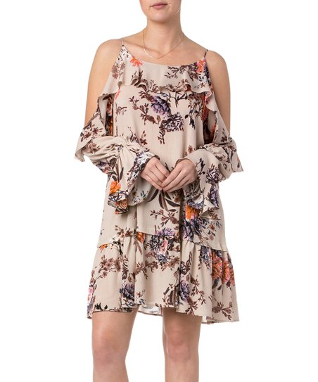 4f5c443f606e love this product Tan   Purple Floral Tiered Bell-Sleeve Off-Shoulder Dress  - Women