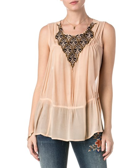 9422612bc66 love this product Beige Embroidered Yoke Sleeveless Top - Women