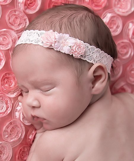 Lil Miss Sweet Pea Pink Ribbon Floral Lace Headband  89889e8ff5d