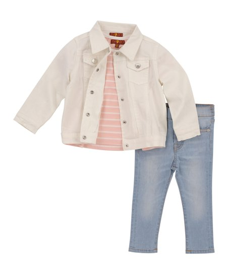be1c78a181ae 7 For All Mankind White Denim Jacket & Light Faded Jeans - Toddler ...