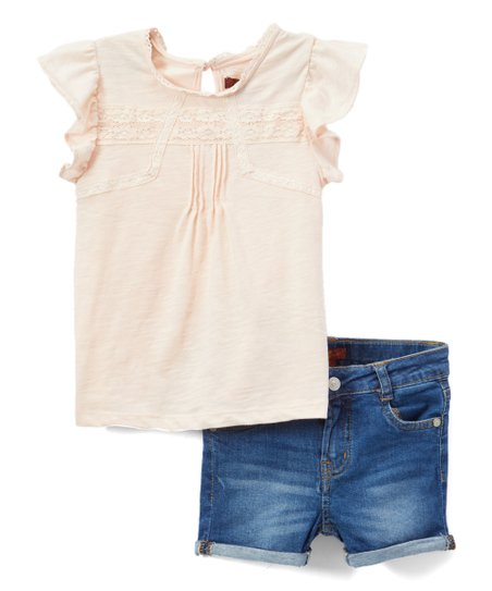 680bf04a love this product Pearl Pleated Flutter-Sleeve Top & Medium Wash Denim  Shorts - Girls