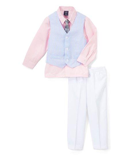 35b01985784d U.S. Polo Assn. Navy   Pink Stripe Seersucker Vest Set - Infant ...