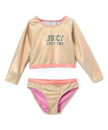 ee8d8d3cb love this product Gold & Pink 'Love Juicy Couture' Rashguard Set - Girls