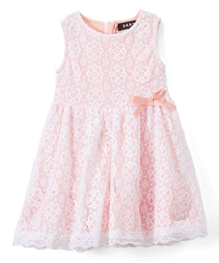 Dkny Impatiens Pink Lace A Line Dress Toddler