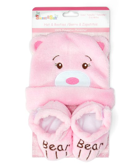3d952564334 love this product Pink Bear Hat   Booties - Newborn