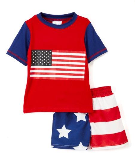 b28de5e6de Sweet & Soft Red & Navy Flag Rashguard & Swim Shorts - Toddler | Zulily