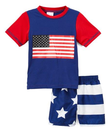 49432b1633 love this product Navy & Red Flag Rashguard & Navy Flag Swim Shorts -  Infant & Toddler