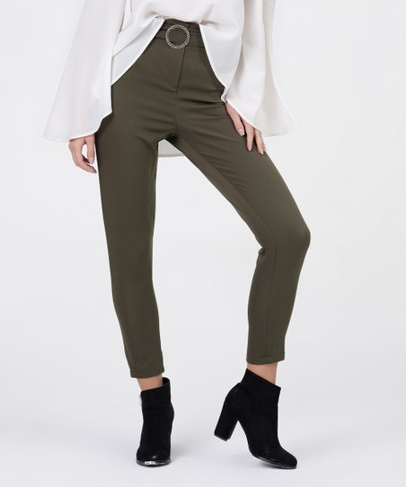b27b93b6e7c Boho Vesper Khaki Ring-Belt High Waist Skinny Pants - Women