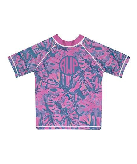 0e1c9fd864d58d love this product Purple & Pink Palms Monogram Short-Sleeve Rashguard -  Infant, Toddler & Girls