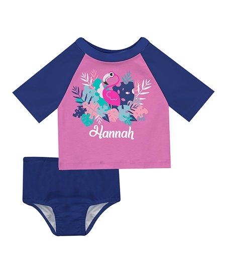 bd5f81ceea357c love this product Pink & Purple Flamingo Personalized Short-Sleeve  Rashguard Set - Infant, Toddler & Girls