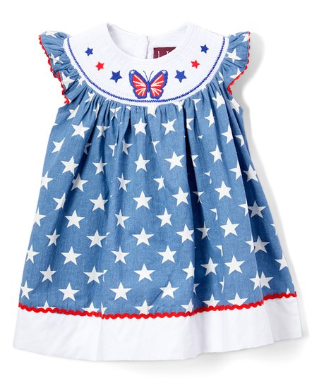 abbaf8a6a9 Lil Cactus Blue   White Star   Butterfly Smocked Angel-Sleeve Dress ...