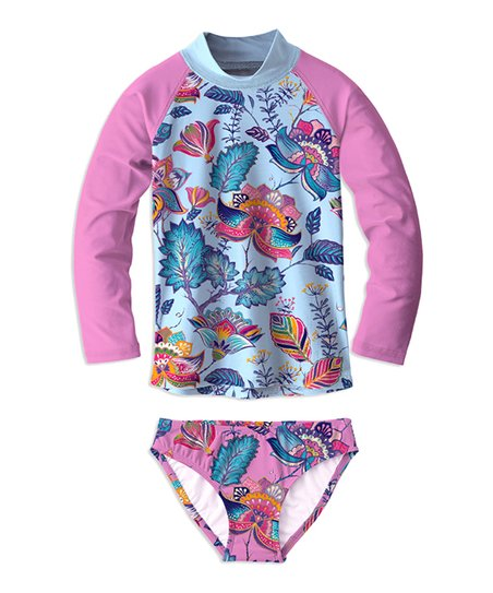 7afd0edea41c4 love this product Pink   Light Blue Floral Long-Sleeve Rashguard Set -  Toddler   Girls