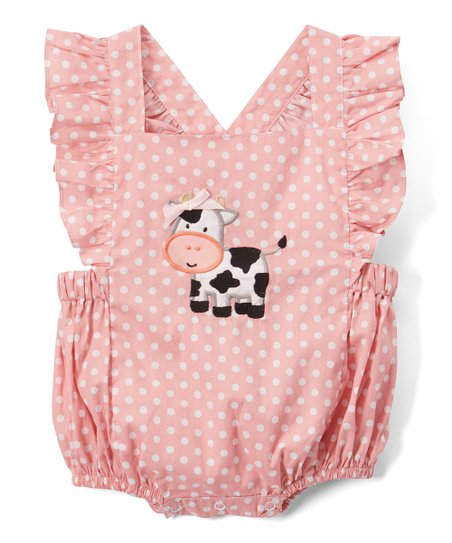 5d4f801936f2 love this product Rose Polka Dot Cute Cow Appliqué Ruffle Romper - Infant    Toddler
