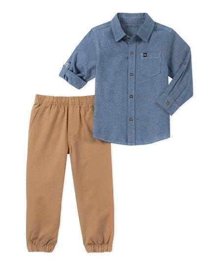 1c0eee5b6249 Calvin Klein Jeans Blue Button-Up   Khaki Jogger Set - Boys