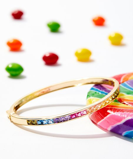 4efdc5651 love this product Rainbow & 14k Gold-Plated Hinge Bangle With Swarovski®  Crystals