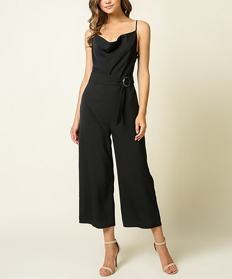 0025621c57f0 love this product Black Belted Sleeveless Culotte Jumpsuit - Women