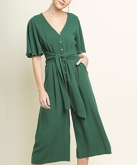 a9d5f227a55 love this product Green Tie-Front Button-Up Linen-Blend Jumpsuit - Women