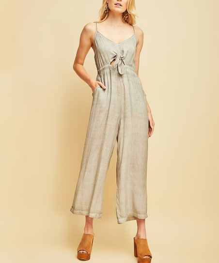b1403925f264 love this product Charcoal Tie-Front Cutout Jumpsuit - Women