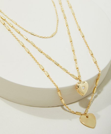 Ettika 18k Gold Plated Heart Triple Chain Necklace Set Best Price And Reviews Zulily