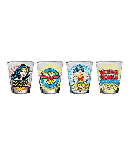 Silver Buffalo, LLC  Wonder Woman Classic Comic Star Burst Mini Glass - Set  of Four