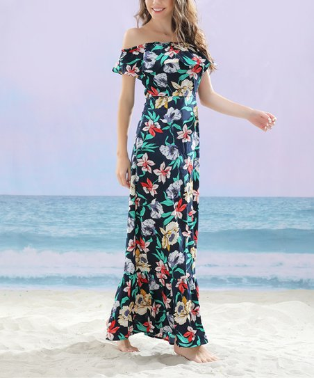 ed4cc9ca7ef9 love this product Navy Red Floral Off-Shoulder Peasant Maxi Dress - Women    Plus