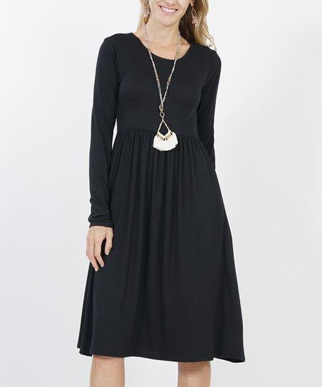 Black Long Sleeve Empire Waist Dress Women Plus Zulily