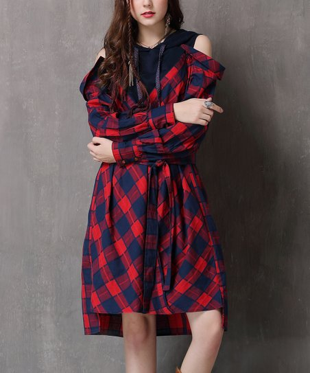 380b796acf3d love this product Red Plaid Off-Shoulder Shirt Dress