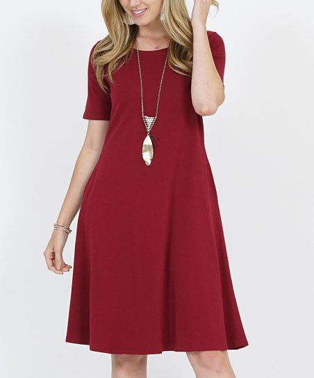 a4378f675 love this product Cabernet Short-Sleeve Two-Pocket A-Line Dress - Women