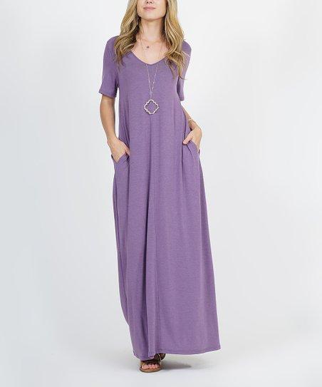love this product Lilac V-Neck Short-Sleeve Pocket Maxi Dress - Women 93245cde5