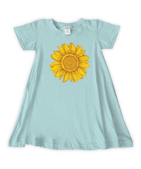 43950a5c9e81 love this product Light Aqua   Yellow Sunflower T-Shirt Dress - Girls