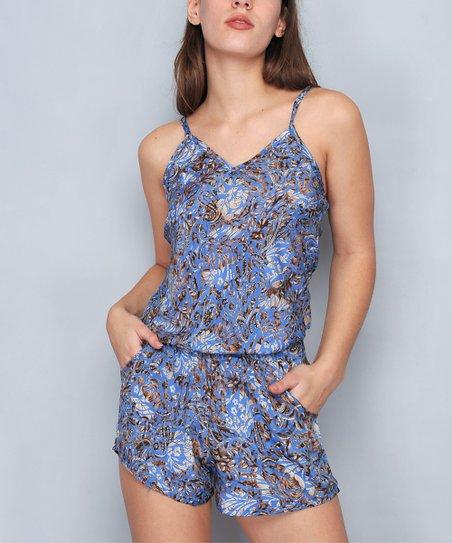 84b1f6ecd549 H.H.G. Blue   Brown Floral Sleeveless Romper - Women
