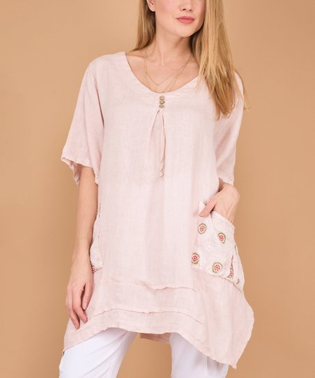 100 Lin Blanc Pink Button Accent Pocket Linen Tunic Women Zulily