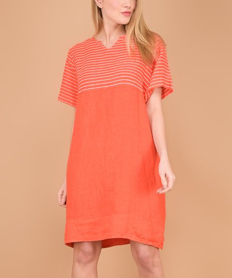 e98e7c985e love this product Orange Pocket Button-Back Linen Notch Neck Dress - Women