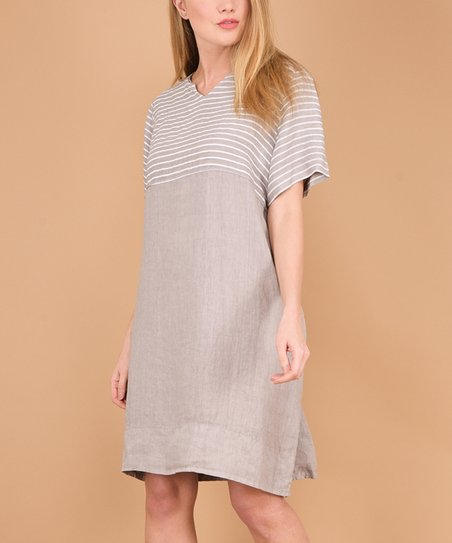 2e0b52b5e8 100% LIN BLANC Beige Pocket Button-Back Linen Notch Neck Dress ...