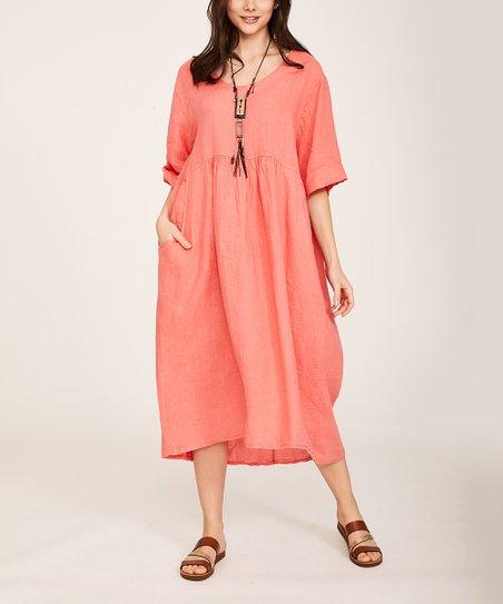 61f6cacfe886 Ornella Paris Coral Pocket Shift Dress - Women & Plus | Zulily