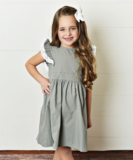 Adorable Sweetness Mint Cream Lace Trim Angel Sleeve Dress