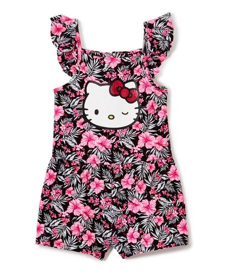 d048e6874 E-play Brands Hello Kitty Pink & Black Floral Glitter Flutter-Sleeve ...