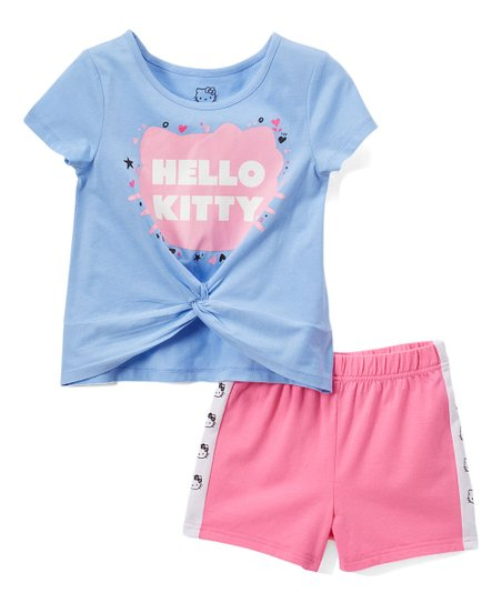 aedc1dc1e6 E-play Brands Hello Kitty Periwinkle Tie-Front Glitter Tee & Pink ...