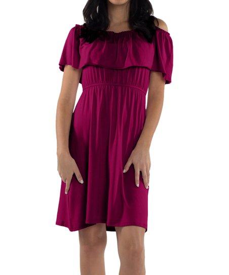 a3e0ba08c4327 love this product Magenta Ruffle Reagan Cold-Shoulder Maternity/Nursing  Dress - Women