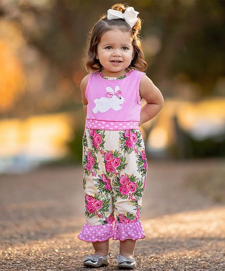 ac4c3c89cd love this product Pink   White Floral Bunny Playsuit - Infant