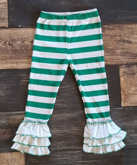 224e17141c95c love this product Green & White Stripe Ruffle-Hem Leggings - Infant, Toddler  & Girls